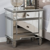 Baxton Studio Sussie Hollywood Regency Glamour Style Mirrored 2-Drawer Nightstand Set of 1