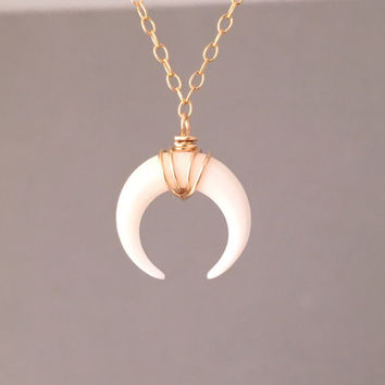 TINY White Bone Double Horn Gold Necklace // Crescent Moon