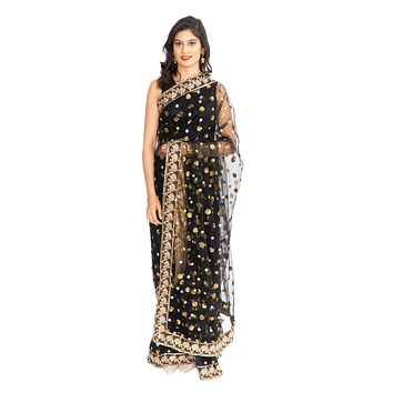Sheer Black and Gold Pre-Pleated Ready-Made Sari