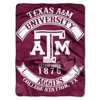 "Texas A&M College """"Rebel"""" 60x80 Rashchel Throw"