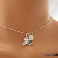 Horse Necklace, Horse Jewelry, Equestrian Jewelry, Sterling Silver 925 Jewelry, Horse Charm, Personalized Women, Teen Gift, Initial Necklace
