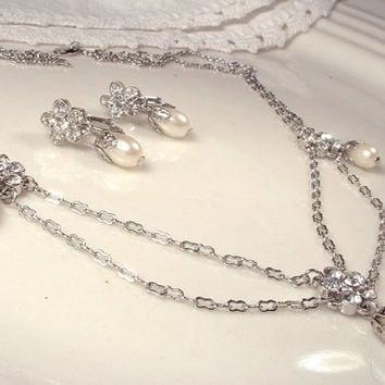 Dainty Pearl & Rhinestone Silver Art Deco Edwardian Bridal Necklace Earrings Set, Vintage 1920s Gatsby Statement Ethereal Downton Abbey