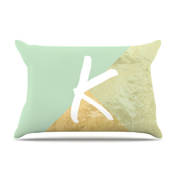 "KESS Original ""Monogram Foil Mint"" Pillow Case"