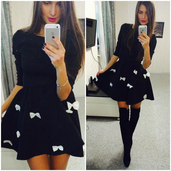Pure Color Bow O-neck Short Sleeve Short Dress