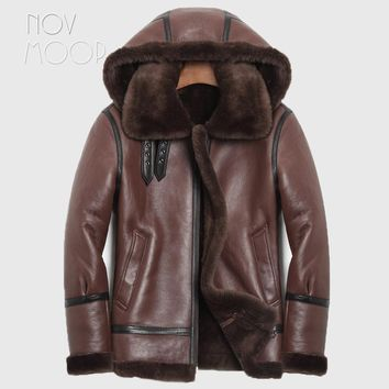 Winter warm men black brown genuine leather real lambskin shearling jacket