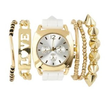 Gold Rubber Watch & Bracelets - 6 Pack by Charlotte Russe