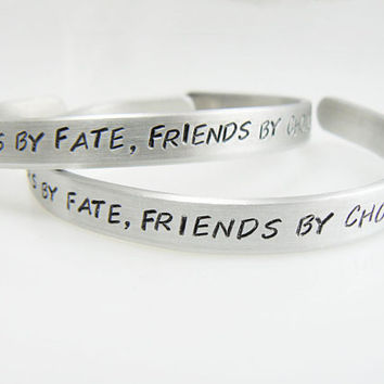 sister bracelet, set of two, sisters by fate, friends by choice, two hand stamped bracelet, big sister, little sister, bulk discount
