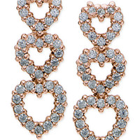 Giani Bernini Cubic Zirconia Pavé Triple Heart Drop Sterling Silver Earrings, Created for Macy's - Hypoallergenic Earrings - SLP - Macy's
