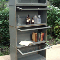 Vintage Industrial Mid Century Modern Metal and Glass Bookcase / Barrister / Stackable Modular / Hillside Metal NJ / Distressed Rusty
