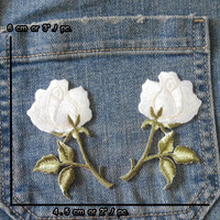 Flower Patches White Rose Patches iron on Patch Embroidered Patches Patch Single Rose Bunch APSR17 New