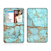 The Cracked Teal Stone Skin For The Apple iPod Classic