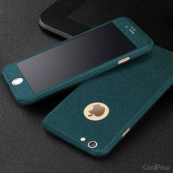 Newest Fashion 360 3in1 All-Protector Tempered Glass Frosting Case for iPhone 6 6 Plus 6s 6s Plus Couqe iPhone 7 IPhone 7 Plus 5