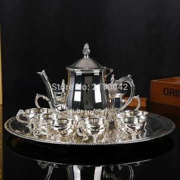 CREYU3C New Shiny Silver Finish Coffee Tea Milk Set High Grade Drinkware Wine Sets For Wedding Or Party 1 Set/4Pcs