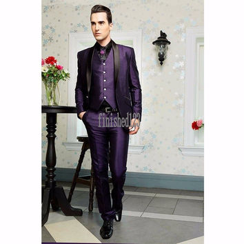 Handsome One Button Purple Groom Tuxedos Groomsmen Men's Wedding Prom Suits Bridegroom (Jacket+Pants+Vest) K:1082