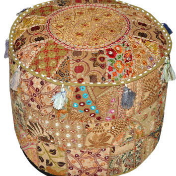 Gypsy pouf Ottoman Bohemian Embroidered Footstool Decorative Tuffet bean bag banjara furniture Indian pouf foot stool chair cover pouffe