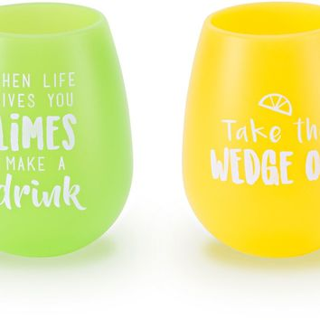 Lime Wedge Silicone Wine Glasses (Set of 2)
