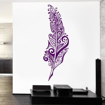 Wall Vinyl Decal Feather Dreamcatcher Bedroom Romantic Decor Unique Gift z3774