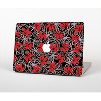 The Red Icon Flowers on Dark Swirl Skin for the Apple MacBook Air 13""