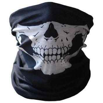 Motorcycle Face Mask 2017 Halloween Bicycle Ski Skull Half Face Mask Ghost Scarf Multi Use Neck Warmer COD