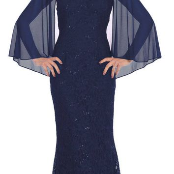 Navy Blue Long Formal Dress Keyhole Neck with Attached Cape