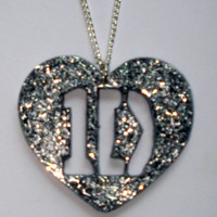 Silver glitter One Direction 1D heart necklace