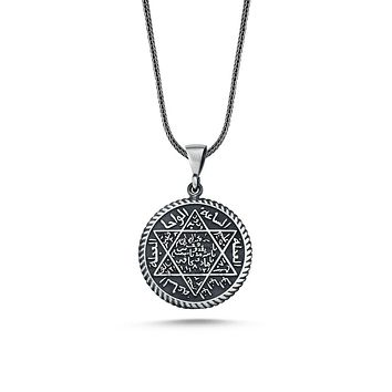 Seal of solomon david star pendant 925k sterling silver necklaces with chain