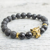 Black lava stone and faceted black onyx beaded gold Leopard head stretchy bracelet,  mens bracelet, womens bracelet