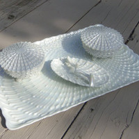 "Dresser Set, 6 piece, in Pearl Lusterware, Seashell Theme, Tray 12"" x 7.75"" 2 Boxes and Ring Dish"