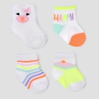 Baby Girls' 4pk Kitty Puppet Crew Socks - Cloud Island™ White 0-6M
