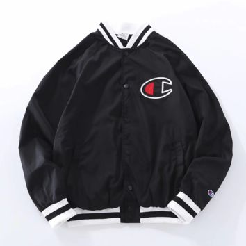 Champion Youth long sleeve leather jacket Men women  Black