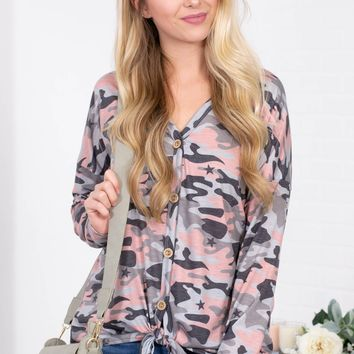 Pink Camouflage Star Knot Top