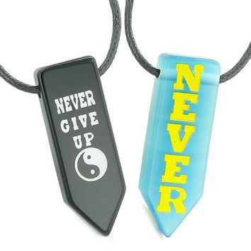 Never Give Up Amulets Love Couples Yin Yang Blue Simulated Cats Eye Black Agate Arrowhead Necklaces
