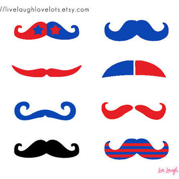 July 4th Finger Mustache Temporary Tattoos by livelaughlovelots
