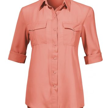 LE3NO Womens Classic Long Sleeve Button Down Chiffon Blouse Shirt with Pockets