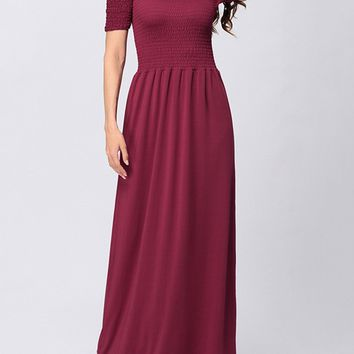 Casual Off Shoulder Smocked Bodice Solid Swing Maxi Dress