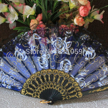 Free shipping 96pcs/lot Spanish style rose flower design plastic frame organza hand fan lace edge