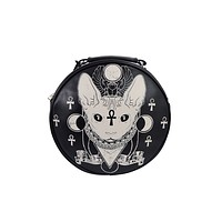 Bastet Sphynx Cat Occult Goth Round Bag Crossbody Bag