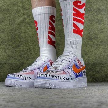 PEAPUX5 VLONE x Nike Air Force 1 One Low Customs Pauly Running Sport Casual Shoes 923088-100 Sneakers