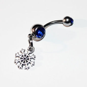 Tiny Snowflake, Belly Button Ring, Christmas Jewelry, Navel Ring, Belly Piercing, Snow Flake, Winter Jewelry