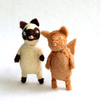 bad ass alley cat    siamese   felt cat brooch by RoyalMint