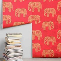 Walls Need Love Elephant Removable Wallpaper- Red One