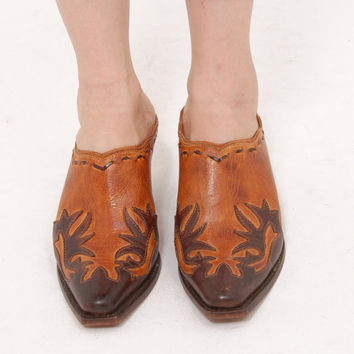 Vintage WESTERN Boots Cowboy Boots Two Toned Leather Mules CHARLIE 1 HORSE Slip On Shoes Boots