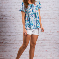 Floral Blues Top, Baby Blue