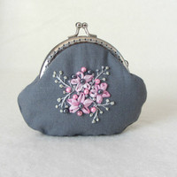Hand embroidered  grey linen coin purse, coin purse,embroidered linen pouch