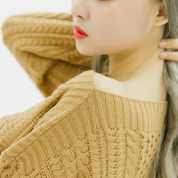 Knit Patterned Boat Neck Sweater | MIXXMIX