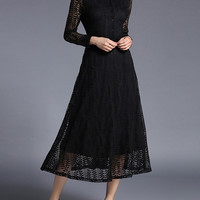 Hollow Out Sheer Lace Shirt Dress -SheIn(Sheinside)