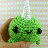 Big Narwhal - Lime Green - Ready to Ship - Amigurumi Crochet Plushie