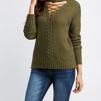 Lattice-Front Mock Neck Sweater | Charlotte Russe