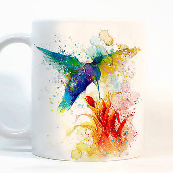 Bird with flower coffee mug Bird mug Watercolor Mug Coffee Cup Tea Cup Gift for her, Gift for him, Printed mug, Ceramic mug
