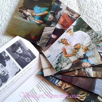 Set of 16 Vintage Postcards Soviet russian Cinema Movie Actors Leningrad Film Shots made in USSR 1970s Colorful